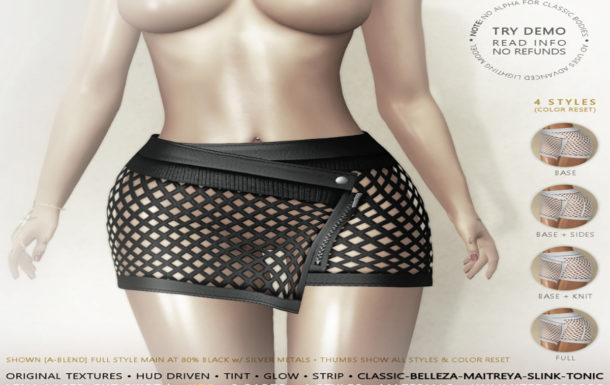 HEC (EVENT EXCLUSIVE) • LENA TINTABLE LASER-CUT NET LEATHER SKIRT LMS15CR-00