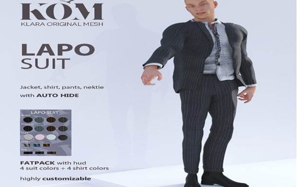 KOM  Women and Men fashion  Lapo Suit for Men, Available