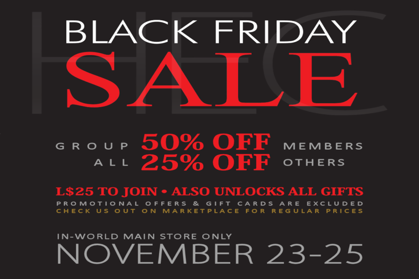 HEC • BLACK FRIDAY WEEKEND SALE 2018