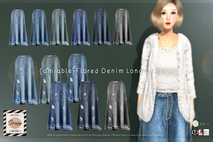 {amiable}Flared Denim Long Skirt