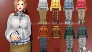 {amiable}Off-shoulder with Marmaid Skirt@C88.