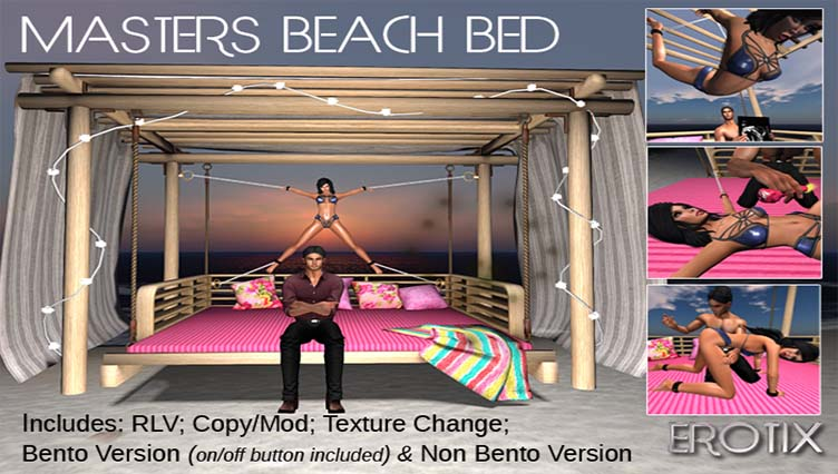 Master's BDSM Beach Bed – New Release for XXX Event – New Decor