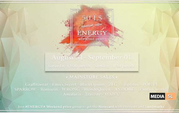 ENERGY Weekend price – August, 31 – September 01th – Round 12