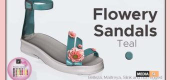 Flowery Sandals Teal – Gift
