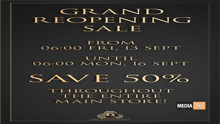 Dictatorshop Grand Reopening Blow Out 50% off sale