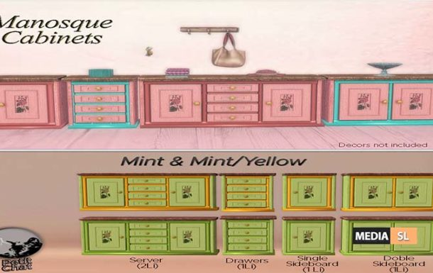 Manosque Cabinets-Mint & Mint/Yellow – Gift