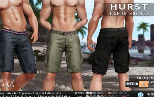 HURST CARGO SHORTS  – NEW Men