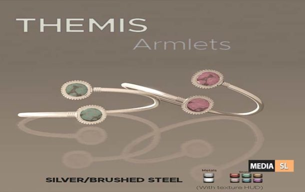 Themis Armlets (Silver/Brushed Steel) – Gift