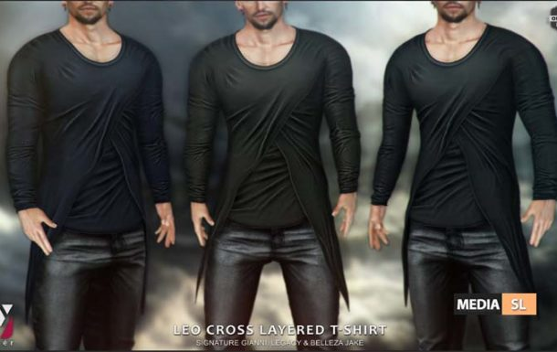 Leo Cross Layered T-shirt – NEW Men