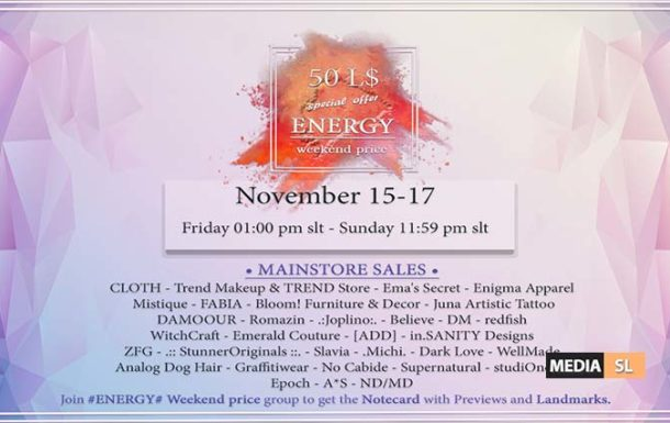 ENERGY Weekend price – November 15-17th. – Sale