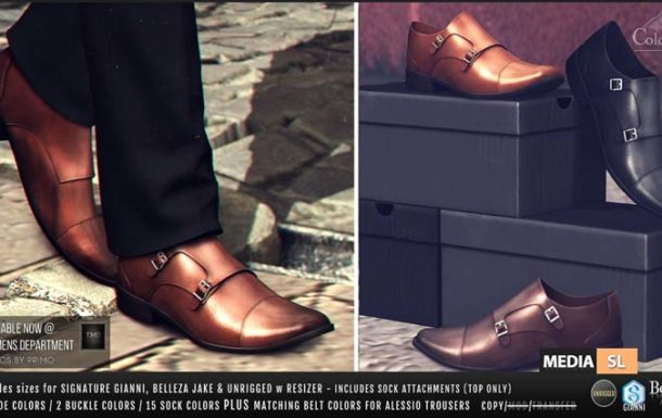 MONK BUCKLE SHOES – NEW Men