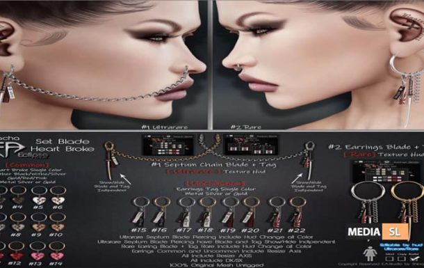 Earring/Septum Blade – Heart Broke – Gacha