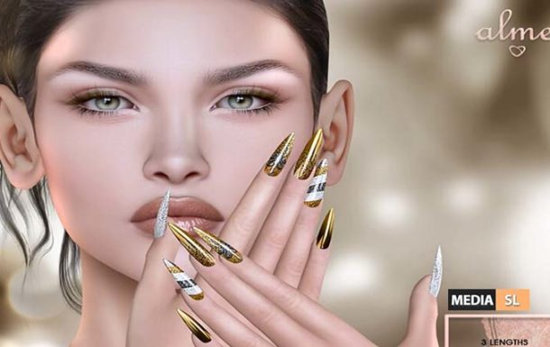 "Alme NEW Group Gift – ""Alme Mesh Stiletto nails//Gold Xmas  – Gift"