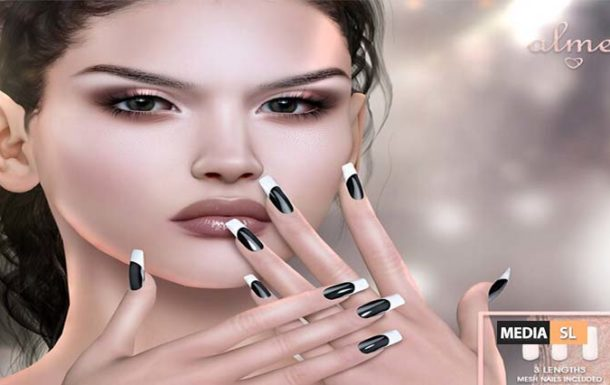 Mesh Square Nails Metal French Black – NEW
