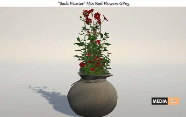 "Sack Planter"" Mix Red Flowers – NEW DECOR"