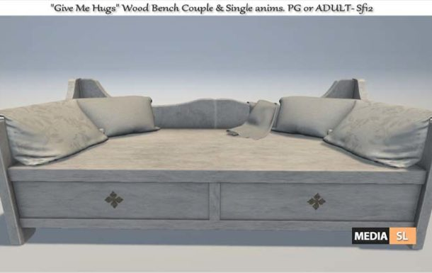 """Give Me Hugs"""" Wood Bench with anims – NEW DECOR"""