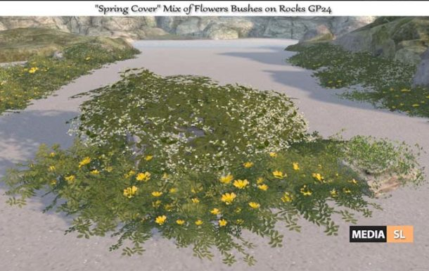 Spring Cover Mix of Flowers Bushes on Rocks – NEW DECOR