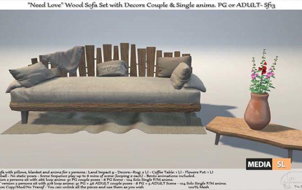 Need Love Wood Sofa Set with Decors – NEW DECOR