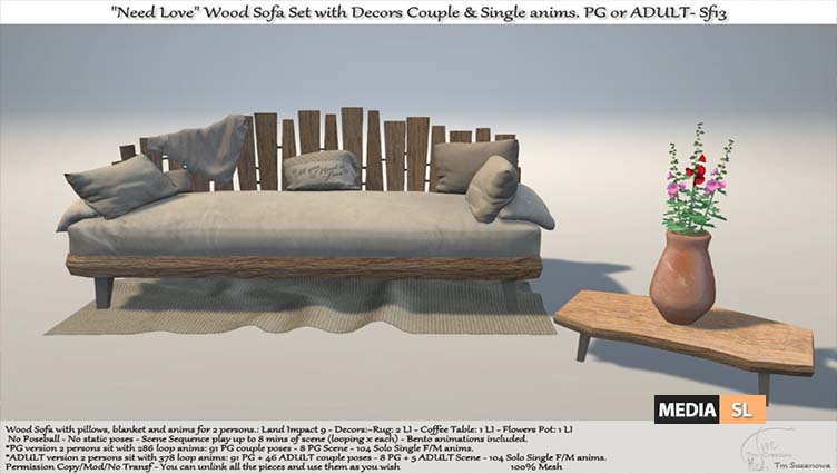 Need Love Wood Sofa Set with Decors – NEW DECOR
