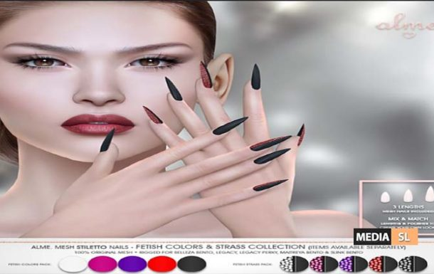 Alme Mesh Stiletto nails Fetish Colors & Strass Collection ♥ – NEW
