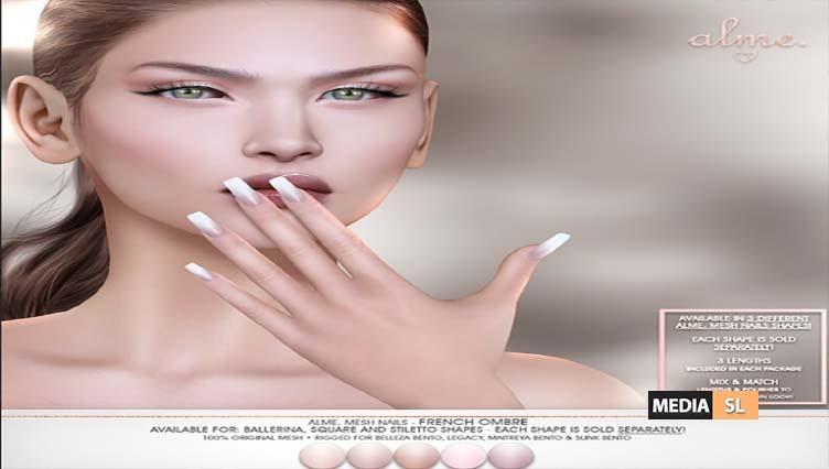 Mesh Nails French Ombre in square, ballerina, stiletto ♥ – Sale