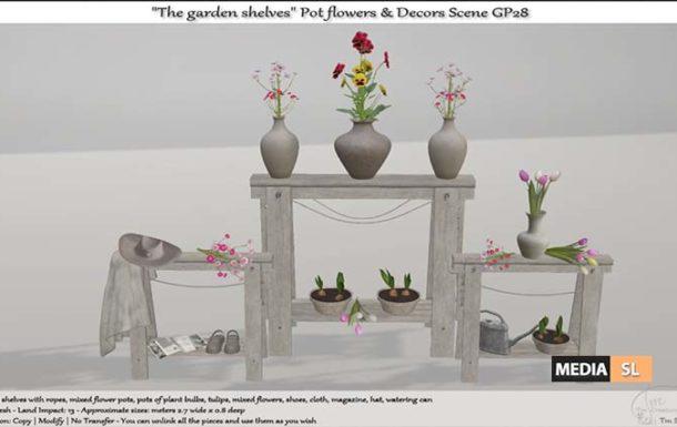 """The garden shelves"""" Pot flowers & Decors Scene – NEW DECOR"""