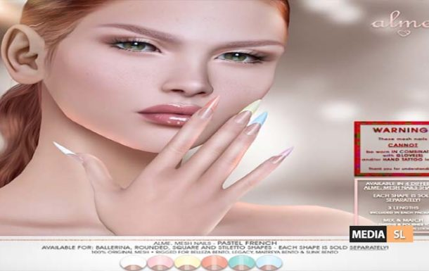 Alme Mesh Nails Pastel French – SALE
