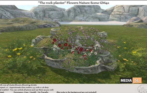 "The rock planter"" Flowers Nature Scene – NEW DECOR"