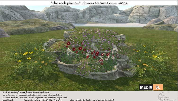 "The rock planter"" Flowers Nature Scene – NEW DECOR"
