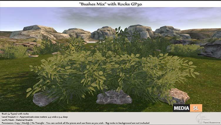 Bushes Mix with Rocks – NEW DECOR