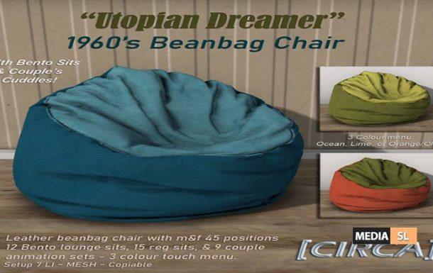 """Utopian Dreamer"""" 1960's Beanbag Chair  – NEW DECOR"""
