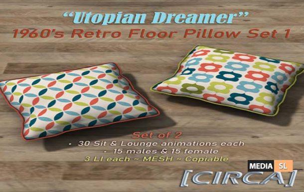 "Utopian Dreamer"" 1960's Retro Floor Pillow Set  – NEW DECOR"