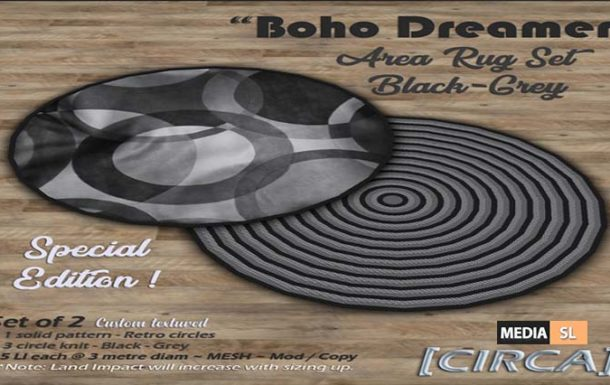 """Boho Dreamer"""" Area Rug Set – Black-Grey (Special Ed) – NEW DECOR"""