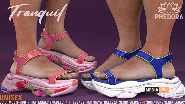 "Phedora for Kustom9 – ""Tranquil"" UNISEX Sandals ♥  – NEW"