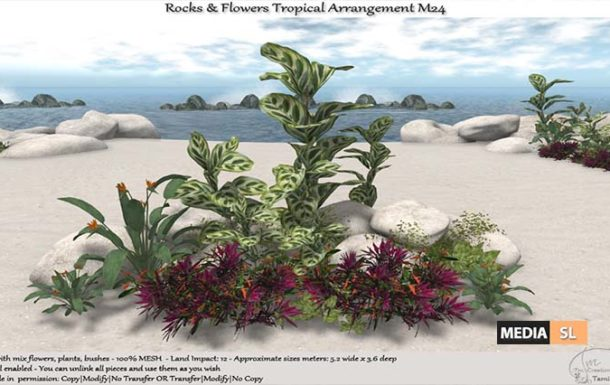 Tropical Flowers Rocks Arrangement – NEW DECOR