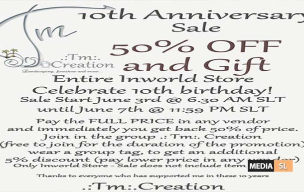 Tm:.Creation Sale and Gift 10th Anniversary – Sale