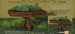 "Garden Oasis"" – Hexagonal Herb Tables – Teak – NEW DECOR"