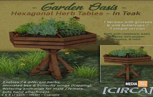 "Garden Oasis"" – Hexagonal Herb Tables – Teak – NEW DECOR"