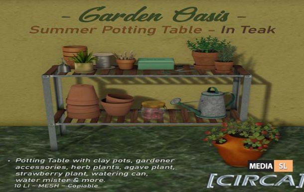 """Garden Oasis"" – Summer Potting Table  – NEW DECOR"