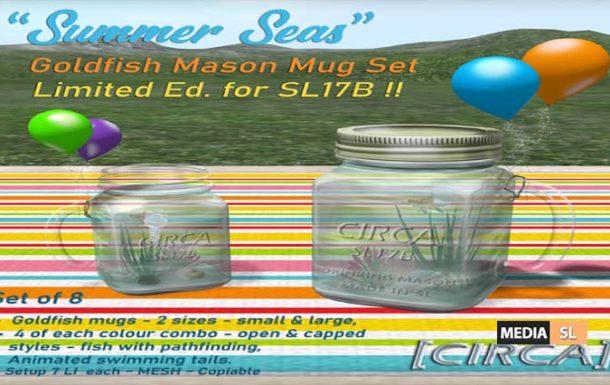 """Summer Seas"" – Goldfish Mason Mug Set – NEW DECOR"