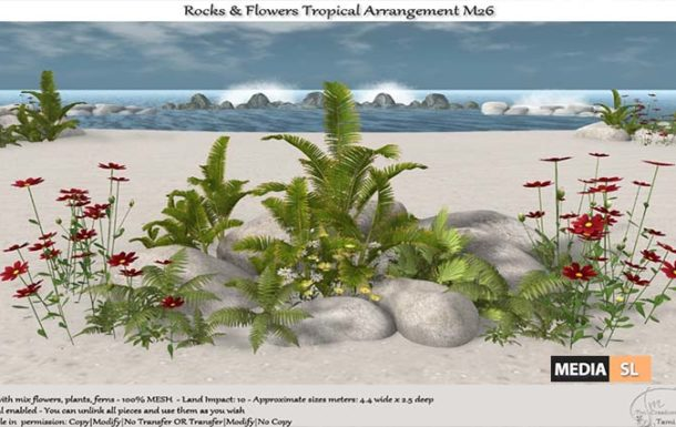 .:Tm:.Creation Tropical Flowers Rocks Arrangement – NEW DECOR