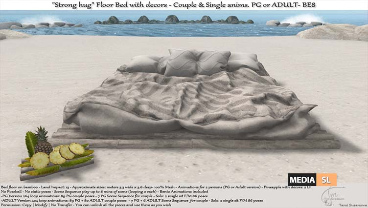 """.:Tm:.Creation """"Strong hug"""" Floor Bed with decors.BE8 – NEW DECOR"""