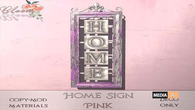 Bloom! – Home sign Pink – NEW DECOR