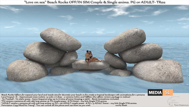 ".:Tm:.Creation ""Love on sea"" Beach Rocks OFF/IN SIM with anims. TR02 – NEW DECOR"