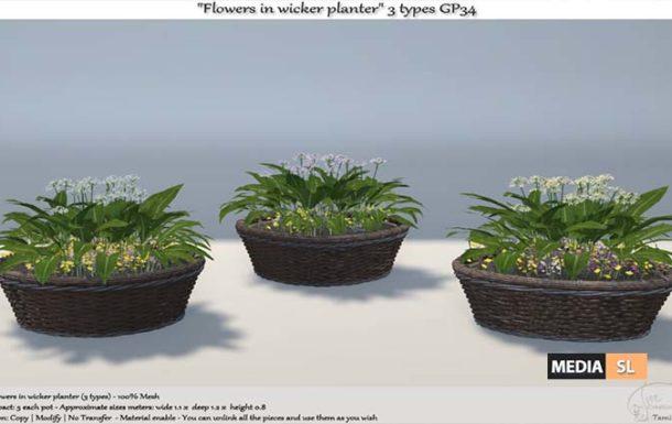 ".:Tm:.Creation ""Flowers in wicker planter"" 3 types GP34 – NEW DECOR"