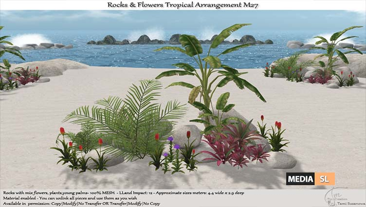 .:Tm:.Creation Tropical Flowers Rocks Arrangement M27 – NEW DECOR