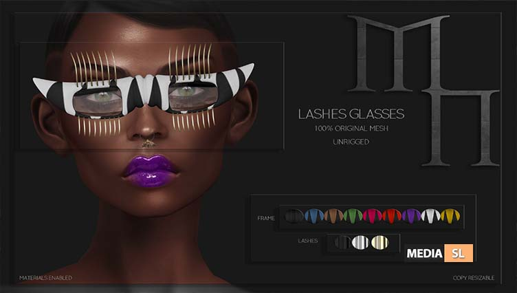 Lashes Glasses by Madame Noir @WIP Event  – NEW