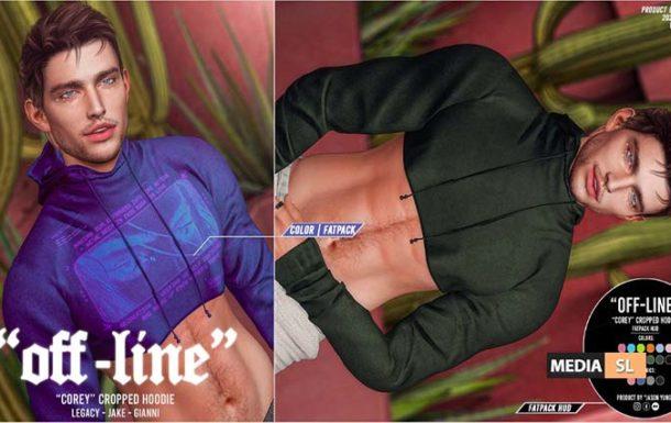 """Off-Line"" x ""Corey"" Cropped Hoodie – NEW MEN"
