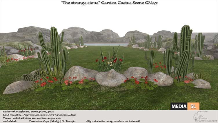 """The strange stone"" Garden Cactus scene GM47 – NEW DECOR"