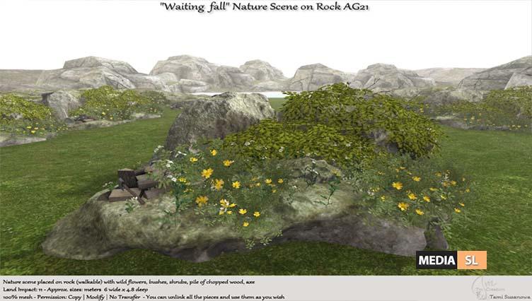 """Waiting fall"" Nature Scene on rock AG21 – NEW DECOR"